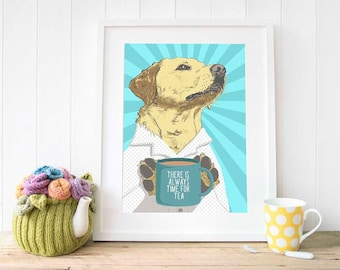 Labrador wall art prints Tea wall decor gift for her Tea poster illustration Sister in law gifts for Dad gifts Mother in law gift for Mum