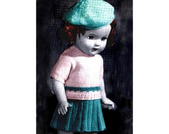 Vintage 18 inch Doll Outfit Knitting Pattern.. Fits American Girl...Beret  Sweater  Skirt  Step-Ins   PDF ... J257