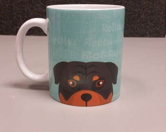 MISPRINT ( 50 % OFF ! ) Adorable Rottweiler Dog Design Ceramic Coffee Mug 11oz White