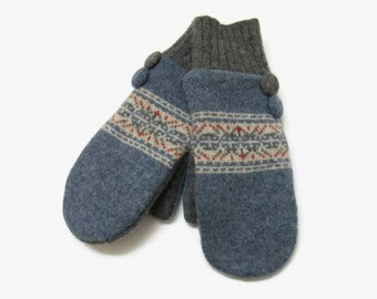 Wool Mittens // Fleece Lined Mittens // Recycled and Felted Wool Mittens // Blue Red and Gray Wool Sweater Mittens