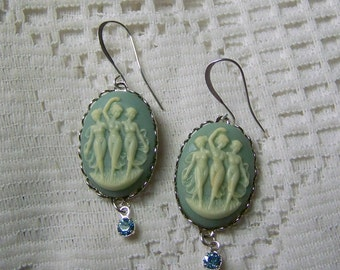 Goddess Cameo Earrings - Three Muses - Goddess Three Fates Graces - friends - sisters - wiccan - pagan - mythology - Faith, Hope Charity
