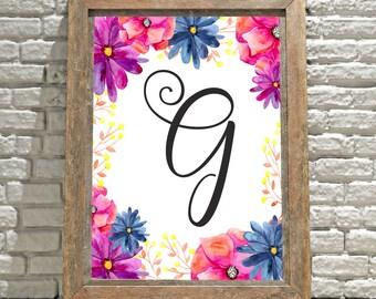 Printable Monogram Wall Art - G