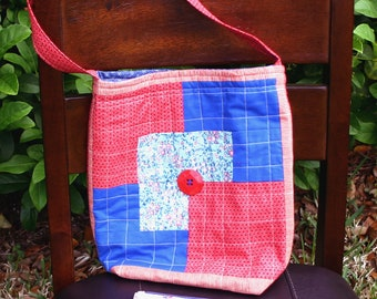 Quilted Tote Bag with Zipper Pouch - reds and blues