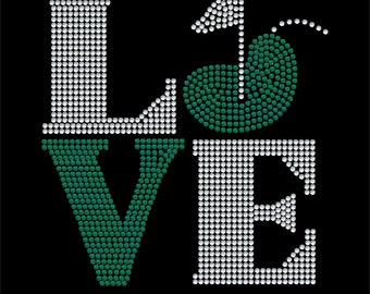 Love Square Golf Rhinestone Transfer Bling
