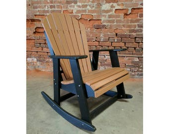 Rocking Adirondack Chair Two Tone made from Poly Lumber