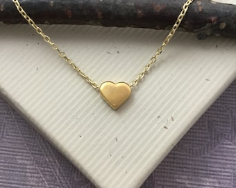 Tiny floating heart necklace, 18kt gold vermeil, bridesmaid, maid matron of honor sister gift, everyday minimalist jewelry N400G