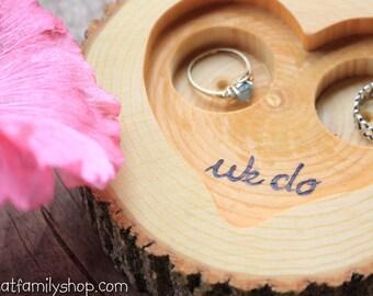 "Rustic 'We Do' Custom Log Ring Bearer ""Pillow"" Dish, Initials Date Custom Wood Burning"