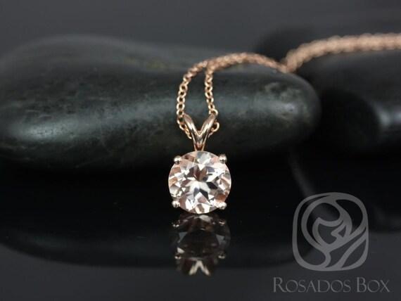 Rosados Box Donna 8mm 14kt Rose Gold Morganite Leaf Gallery Basket Necklace