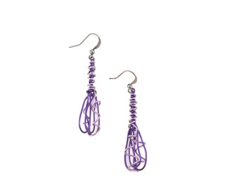 Lilac and purple copper wire earrings