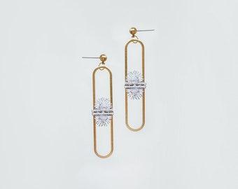 Stud Earrings Earring Studs Modern Earrings Geometrical Earrings Minimal Earrings Gold Earrings Lace Earrings Brass Earrings / NARCISA