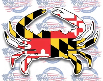 """Maryland Flag blue crab decal sticker 5""""x 7"""" car truck suv stickers set of 2"""