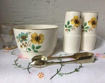 Floral Salt & Pepper pots, shakers, plus matching sugar bowl empire ware 1960s flowers vintage