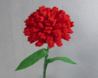 Red Carnation Stem Made-To-Order - Artificial Flower - Fake Flower - Felt Flower - Felt Carnation - Fake Carnation - Artificial Carnation