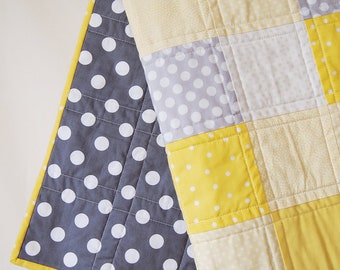 BABY QUILT Modern Bright Yellow and Grey Baby Quilt
