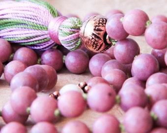 Rhodonite Mala, Buddhist Prayer Bead, Meditation Mala, Mantra Beads For Emotional Healing, Calm Mind & Relaxation