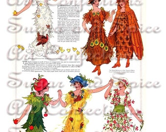 Fancy Party Costumes November Crepe Paper Costumes Vintage Digital Collage Sheet Great for Art Dolls, Paper Dolls and Toy Theaters