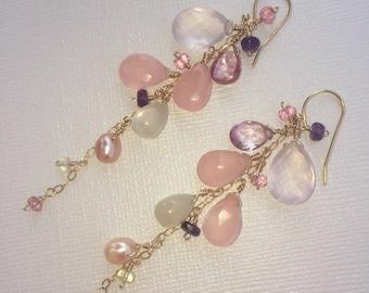 Multi gemstone cluster dangle gold filled earrings