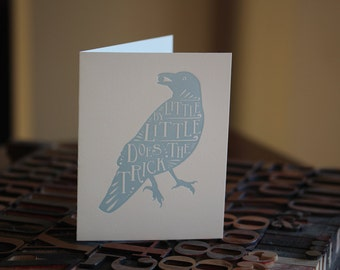 The Crow and the Pitcher Letterpress Folded Card