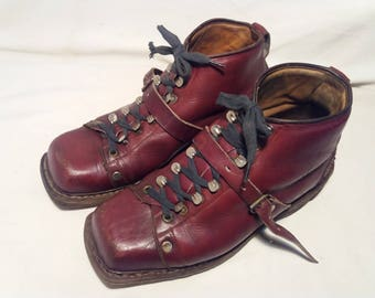 Vintage Dark Red Leather Ski Boots