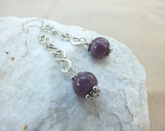 Ruby Earrings. Sterling Silver Ruby Dangles. Ruby Rounds. Purple Ruby Round Gemstones. July Birthstone