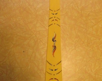 Gorgeous 1950s Hand Painted Yellow Rayon Crepe Rockabilly Tie