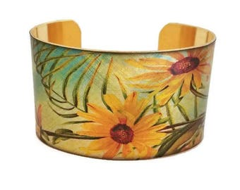 Daisies Yellow Daisy Butterfly adjustable cuff bracelet Vintage style brass Gifts for her