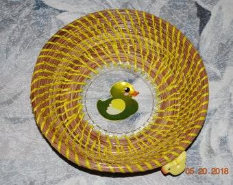 "Pine Needle Basket ""Rubber Duckie"""