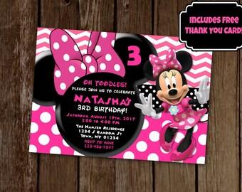 Custom minnie mouse birthday party printable invitation minnie mouse invitation minnie mouse birthday party pink minnie mouse invite printable invitation filmwisefo