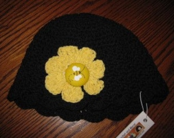 Black cotton beanie, sunhat, bonnet
