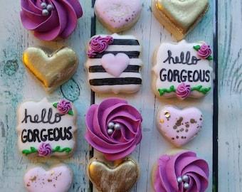 """20 """"Hello Gorgeous"""" Mini Sugar Cookies"""