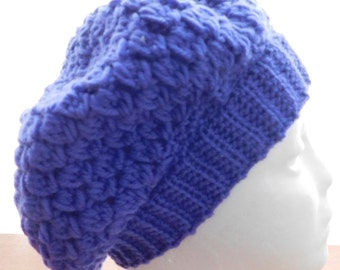 crochet purple slouch hat