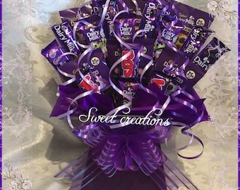 Cadbury chocolate, large bouquet, sweet hamper, gift,purple,Christmas, sweet creations, wispa,dairy milk, chocolate buttons,party, birthday