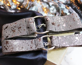 Distressed Gunmetal Suede Choker (Available in Two Sizes)