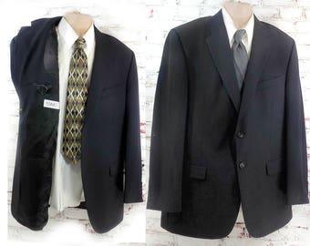 vintage Formal black sport coat  -men's black tie coat -  men's  wool sport coat - men's wedding jacket  -black sport coat -Size 46 L # 95