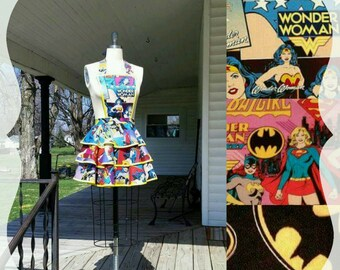 Wonder Woman Apron with Batgirl Supergirl or Batman Apron Women's Apron  XS S M L XL XXL 3XL 4XL 5XL 6XL superhero Dc