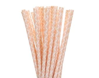 Paper Straws, Peach Damask Paper Straws, Vintage Tea Party Supplies, Damask Wedding Straws, Shabby Chic Party Decor, Peach Sweet 16 Straws