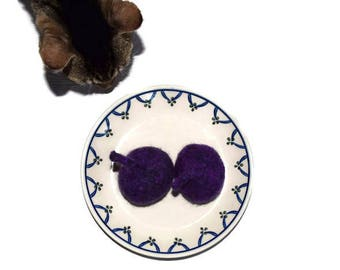 Cat Toy - Catnip Fig - Purple Figs - Hand Knit Felted Wool