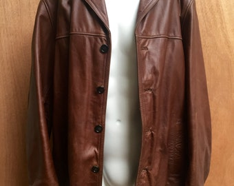Men's Beautiful Butter leather 1970 coat/ Men's/ unisex/ Wilson brand/hipster urZIt