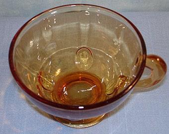 Moondrops Amber Depression Glass Cup