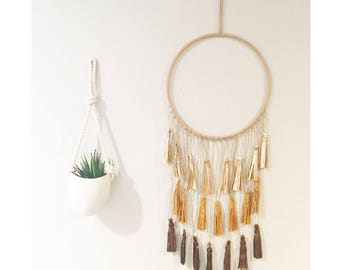 Leather Tassel Wall Hanging - Large - Rose Gold Mustard Copper - decor home wallhanging art artwork nursery dreamcatcher baby boy girl boho  sc 1 st  Etsy & Leather wall art   Etsy