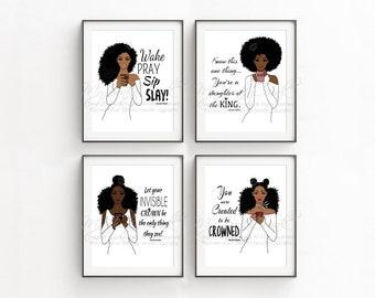 SALE- SET OF 4 -African American Black Woman Coffee Lover Natural Hair Art Prints