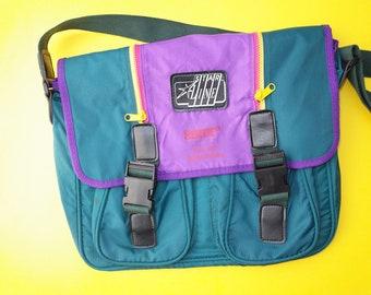 80s colorblock bag, 90s office laptop bag, vintage retro bag, work city school bag, crossbody shoulder bag, fold over messenger bag