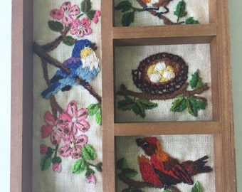 Vintage Crewel Shadow Box with Birds