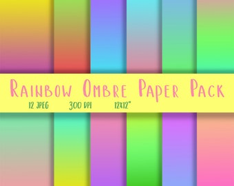 Rainbow Ombre Paper - Gradient Background - Ombre Background Paper - Ombre Digital Paper - Ombre Scrapbook Paper - Rainbow Digital Paper