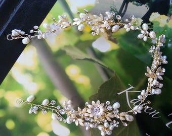 Bridal Hair Vine with Rhinestones Freshwater Pearls Light Gold Flowers, Wedding Hair Wreath, Lux Wedding Headpiece