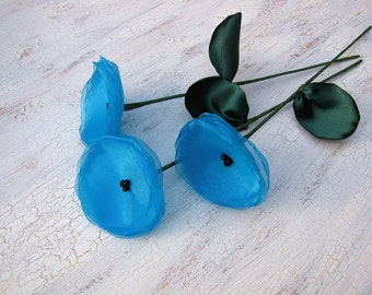 Flowers with stems, home decor, fabric flowers, handmade organza flowers- set of 3 pcs- TURQUOISE BLUE POPPIES (as seen in Brides magazine)