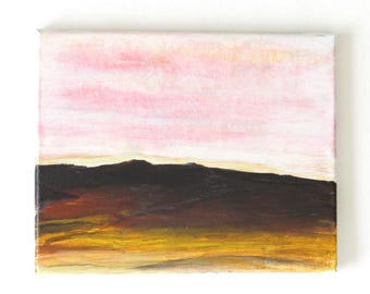 Desert Landscape Painting Pastel Painting Small Canvas Painting Original Painting Pink Art Painting Sandscape Painting Arizona Painting