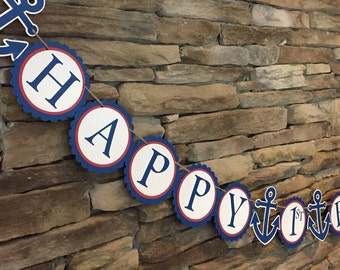 Nautical birthday banner Nautical theme banner Anchor banner Red White and Blue banner 1st birthday banner