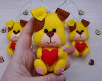 Felt ornament, Felt dog, Stuffed felt ornament, Christmas ornament, Valentines day decor, Felt stuffed hearts, Valentines gift