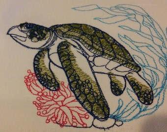 Embroidered Under The Sea Turtle Towel.